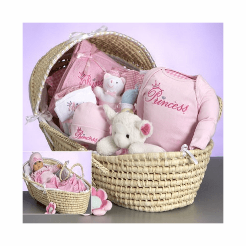 Baby Deluxe Moses Princess Gift Basket for Girl