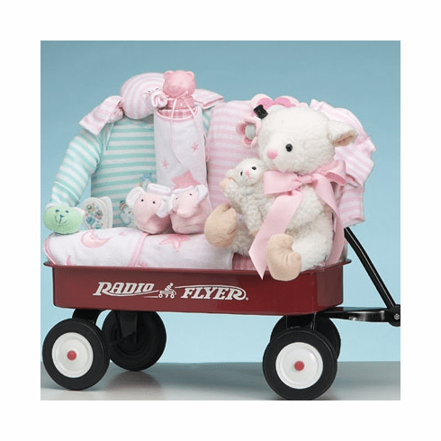 Baby Deluxe Radio Flyer Miniature Wagon Gift Basket<br> for Girl