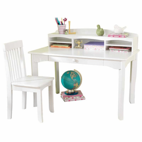KidKraft Avalon Child Desk With Hutch And Chair Set - White