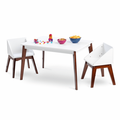 Modern Table & Chair Set - White Table Espresso Legs w/ White Chairs