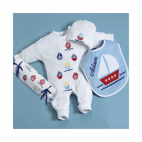 Personalized Sail-A-Way Layette Baby Clothing Set