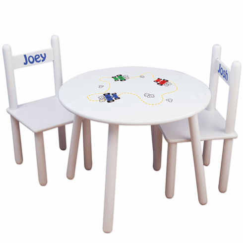 Personalized Wooden Round Child Table and Chairs Set