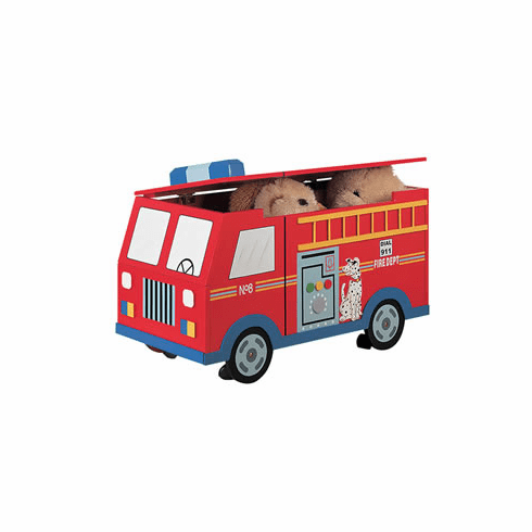 Teamson Child Fire Engine Toy Chest - Trunk On Wheels