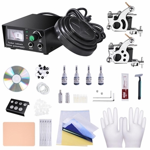 2 4 8 Machine Guns Complete Tattoo Kit 40 54 Ink LCD Power Supply 2 Guns 4Inks & Black