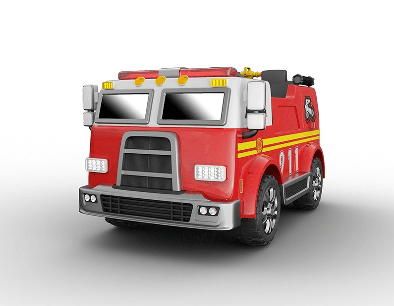 Magic Cars® 2 Seater Fire Engine Ride On 4X4 Remote Control Truck Shoots  Water W/PA Speaker Siren Light System