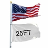 25FT Flag Pole Telescopic Flagpole Kit Aluminum 3x5' U.S Flag Fly America 2 Flag