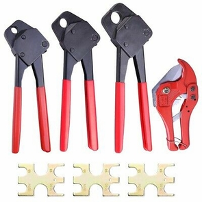 3 Pex Crimper Tool Combo 3/8 1/2 3/4 & 1-5/8 Ratchet Cutter Pipe Crimp Plumbing