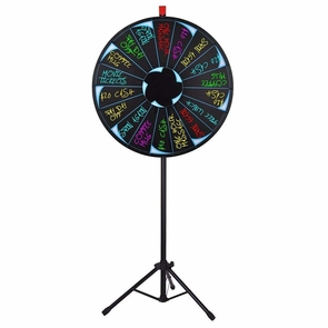 "30"" LED Light Tripod Floor Color Spin Prize Wheel 18 Slot"