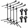4pcs Microphone Boom Stand Mic Clip Holder Studio Arm Adjustable Foldable Tripod