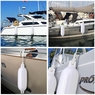 "4x Boat Fenders 6.5""x23"" 8""x27"" Dock Shield Protection Ribbed Inflatable Bumper 6.5""x23"" & White"