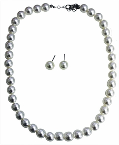 50s Pearl Earring & Necklace S Costume
