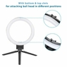 "8"" Dimmable LED Ring Light Floor Table Stand USB for Selfie Makeup Live Stream"