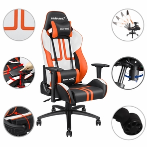Anda Seat Ergonomic Racing Chair Gaming Tilt Adjustable Swivel Office Black with Orange