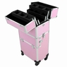 AW® 4 Wheels Aluminum Makeup Artist Cosmetic Train Case Storage Lock Box 2in1