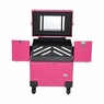 AW® 4 Wheels Makeup Case Cosmetic Travel Train Rolling Trolley Lackable Storage