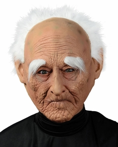 Creepy Old Man Mask W Hair Costume