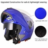 DOT Flip up Modular Full Face Motorcycle Helmet Dual Visor Motocross Size M & Blue