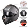 DOT Flip up Modular Full Face Motorcycle Helmet Dual Visor Motocross Size M & Matt Black