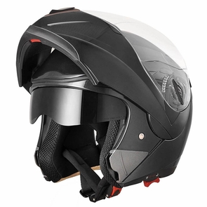 DOT Flip up Modular Full Face Motorcycle Helmet Dual Visor Motocross Size XL & Black