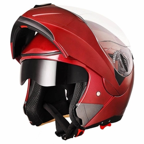 DOT Flip up Modular Full Face Motorcycle Helmet Dual Visor Motocross Size XL & Red