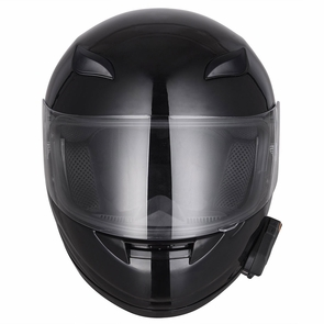 DOT Motorcycle Full Face Adult Helmet Size M-XL w/ Bluetooth Wireless Headset High Gloss Black & Size M