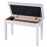 Double Duet Concert Piano Bench Leather Padded Keyboard Seat Home Storage White