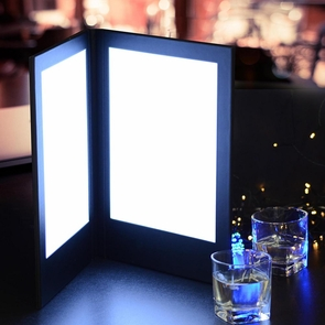 """Hotel LED Check Bill Holder Restaurant Wine List Drink Menu Cover with Lighting For 8""""x11"""" Menu Size"""