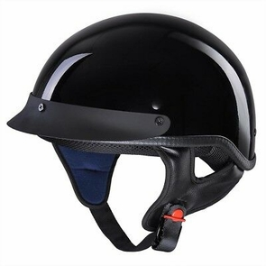 Motorcycle Half Face Helmet DOT Approved Bike Cruiser Chopper High Gloss Black M