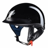 Motorcycle Half Helmet DOT Open Face Chopper Cruiser Bike Skull Cap Size S-XL High Gloss Black & L