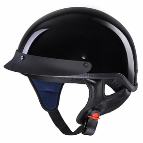 Motorcycle Half Helmet DOT Open Face Chopper Cruiser Bike Skull Cap Size S-XL High Gloss Black & M
