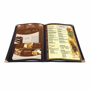 "Non-Toxic Menu Covers Cafe Restaurant Club DIY Fold Book Style 8.5x11 8.5x14"" 26MNC003-1V4P8X11-06, 8.5x11"" 20pcs 4 Page 8 View Black"
