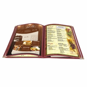 "Non-Toxic Menu Covers Cafe Restaurant Club DIY Fold Book Style 8.5x11 8.5x14"" 26MNC003-1V4P8X14-02, 8.5x14"" 20pcs 4 Page 8 View Wine"