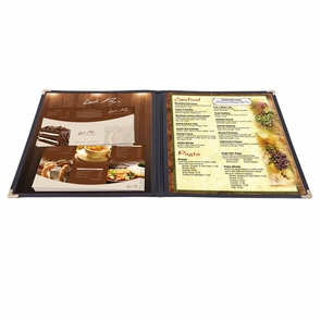 "Non-Toxic Menu Covers Cafe Restaurant Club DIY Fold Book Style 8.5x11 8.5x14"" 8.5x11"" 30pcs 2 Page 4 View Black"