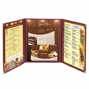 "Non-Toxic Menu Covers Cafe Restaurant Club DIY Fold Book Style 8.5x11 8.5x14"" 8.5x14"" 30pcs Folded 3 Page 6 View Wine"