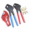 "PEX Copper Crimp Ring Supply Crimping Plumbing Clamp Tool Gonogo Gauge 1/2"" & Blue + 3/4"" & Red + Tube Cutter"