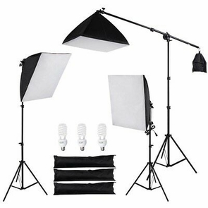 Photo Studio 3x Softbox Light Boom Arm Stand Lighting Kit Weddings Video Shoots