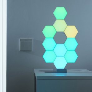 Quantum Lamp Led Hexagonal Light Panel Modular Touch Sensitive Smart Xmas Light 10 Pcs & base