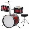 Red Drum Set 3 Piece Junior Complete Child Kids Kit With Stool Sticks Seat