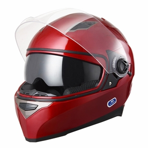 Safety DOT Motorcycle Full Face Helmet Dual Visor Sun Shield Racing Sports S-XL Size M & Red