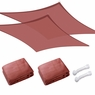Sun Shade Sail Outdoor Canopy Top Cover UV Block Triangle Square Rectangle Red 2 PCS Rectangle, 13'x19'-Red
