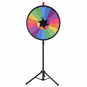 """WinSpin® 24"""" Prize Wheel Floor Stand Spin Game Tripod Tradeshow Fortune Lottery Type 1: Colorful 18 Slots"""