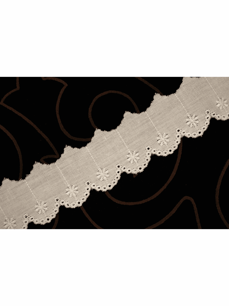 """1 1/4"""" Off-White Floral Scalloped Eyelet Lace Trim #lace-184"""