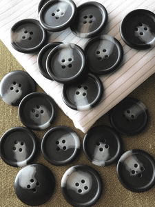 "1-1/8"" (28mm) 44L 4 Hole Grey Black Vintage Buttons #877"