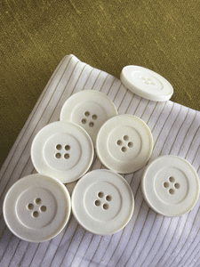 "1-3/8"" (35mm) 54L 4 Hole Italian Winter White Large Vintage Buttons #850"