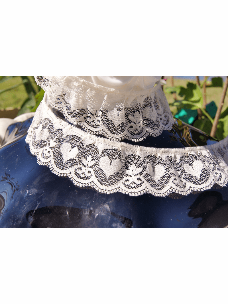 """1 3/8"""" Natural Heart Ruffled Lace Trim #lace-76"""