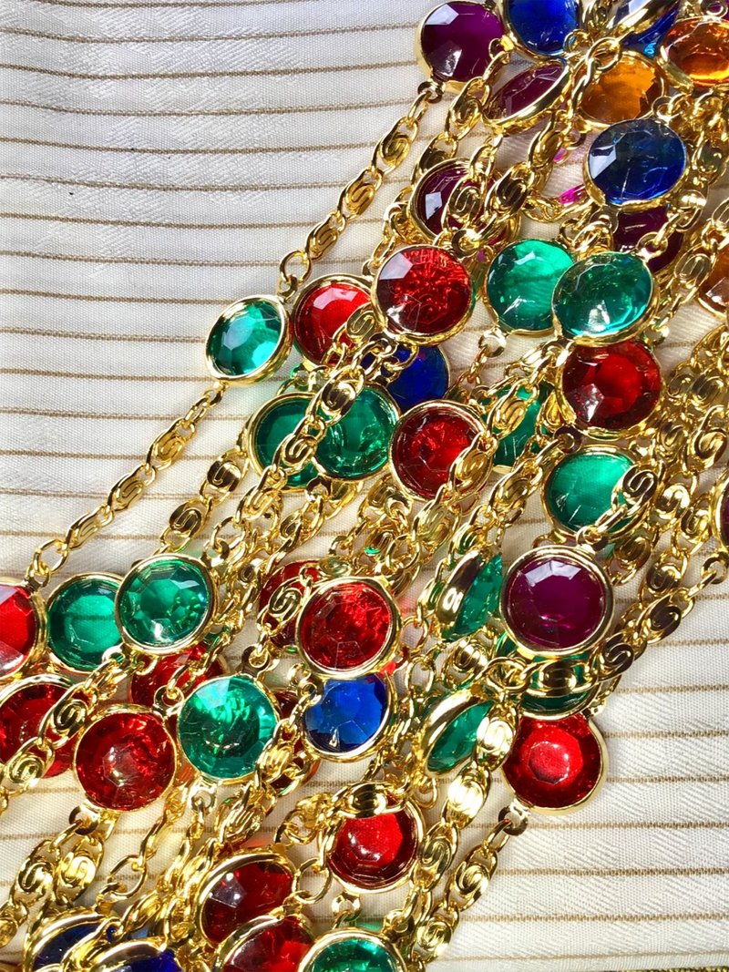 "10-1/2"" x 1/2"" Vintage Metallic Gold Chain Colorful Gems Blue, Green, Red, Yellow #824"
