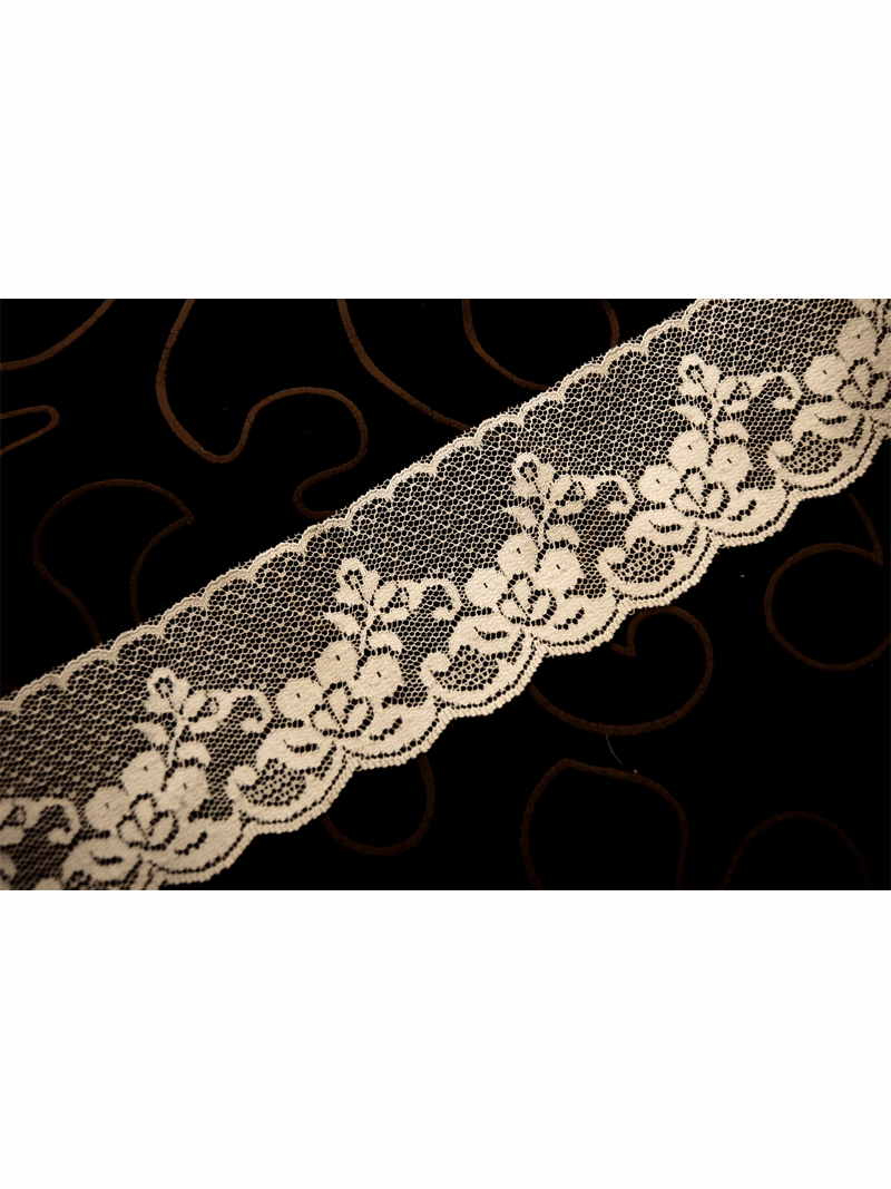 "2 1/2"" Off White Floral Raschel Lace Trim #1217"