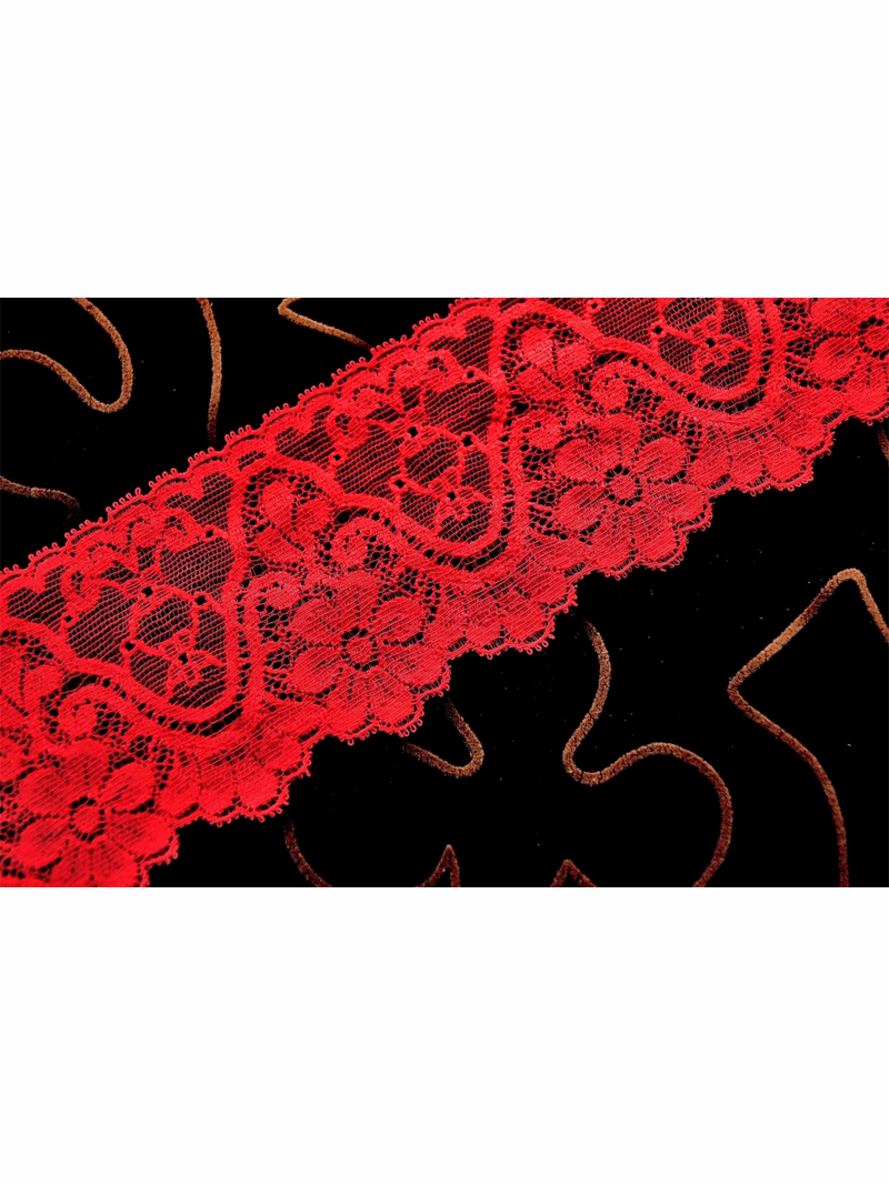 """2 1/2"""" Pink Red Floral Stretch Lace Trim #287"""
