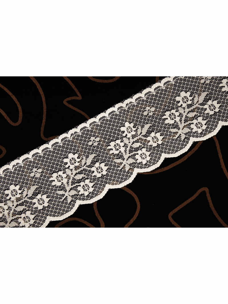 """2-1/4"""" Ivory Fine Floral Scalloped Lace Trim"""
