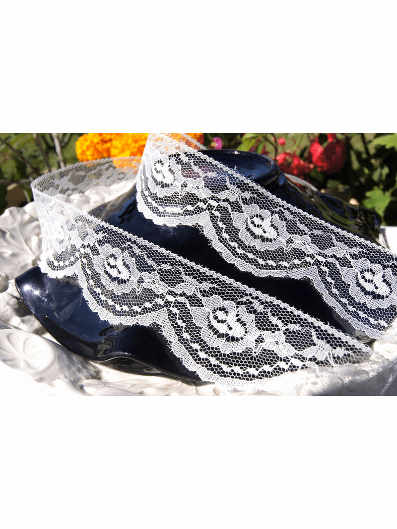 """2 1/4"""" Off-White Scalloped Floral Lace Trim #lace-107"""